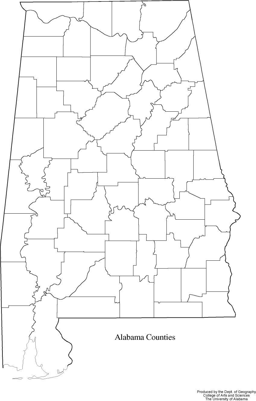 Alabama State Map By County.Alabama Outline Maps And Map Links