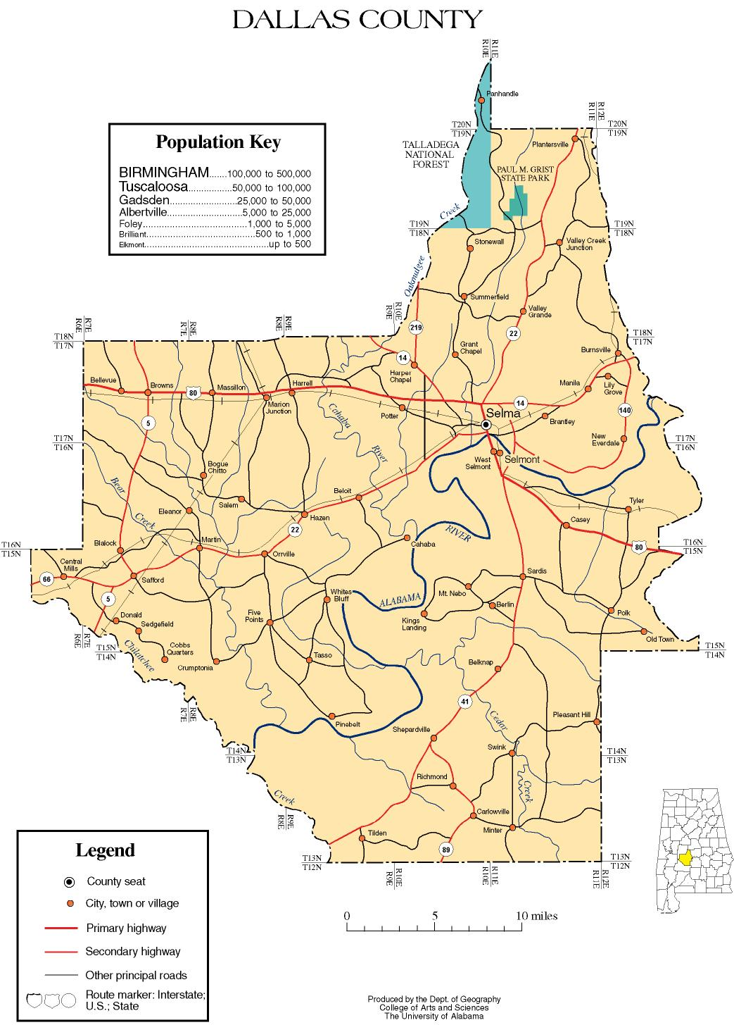 Alabama State Map By County.Dallas County Alabama History Adah