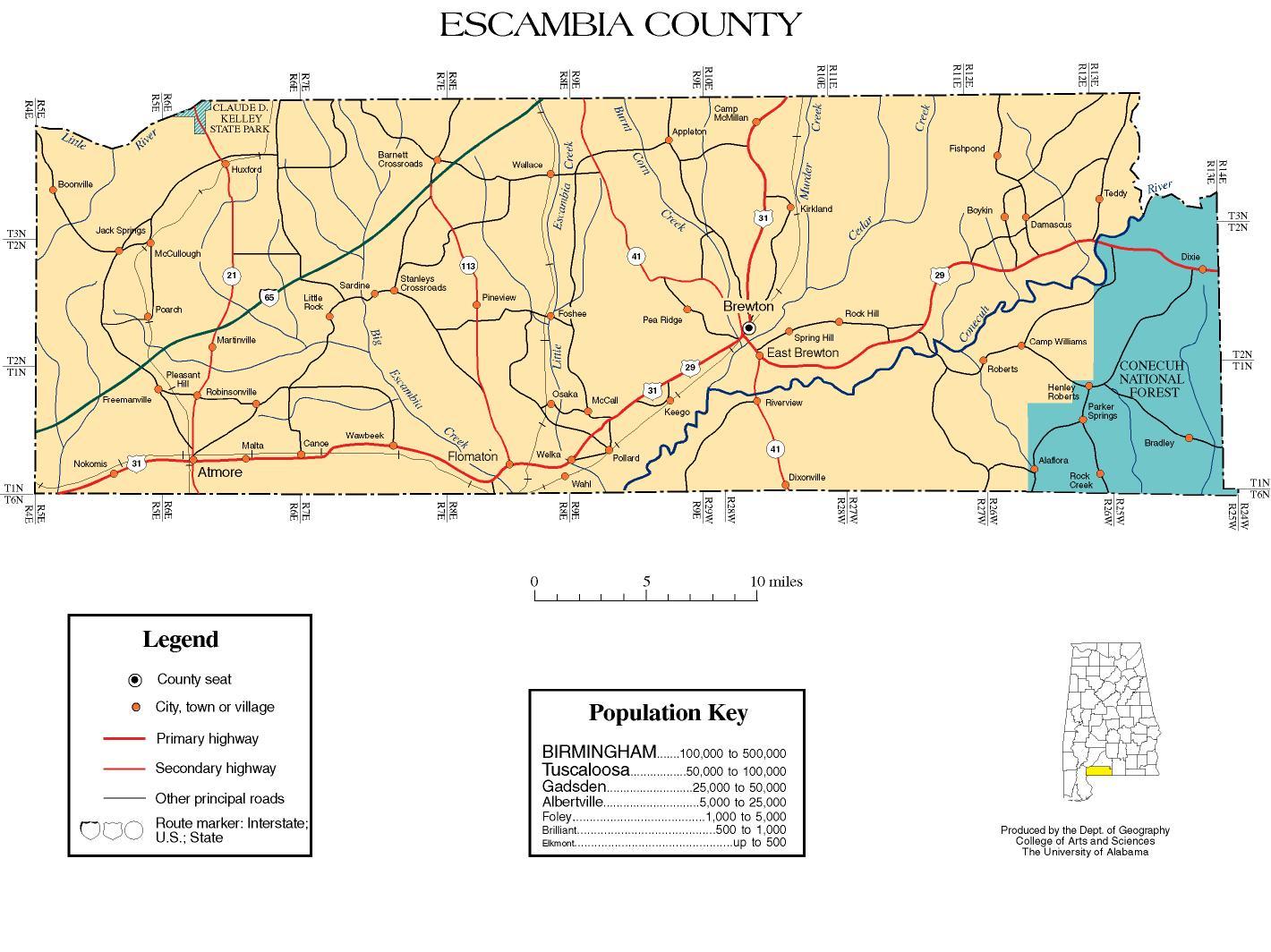 Escambia County, Alabama history, ADAH on