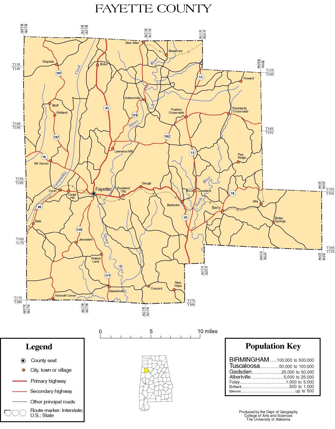 Fayette County Alabama History ADAH - Maps of alabama