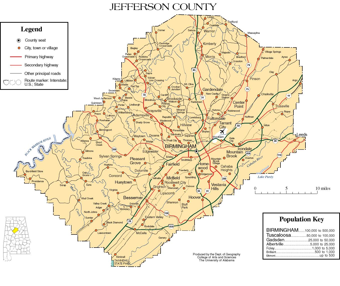 Jefferson County Alabama History ADAH - Al map