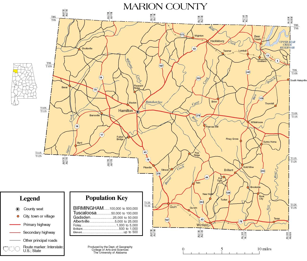Marion County Alabama History ADAH - Detailed map of alabama