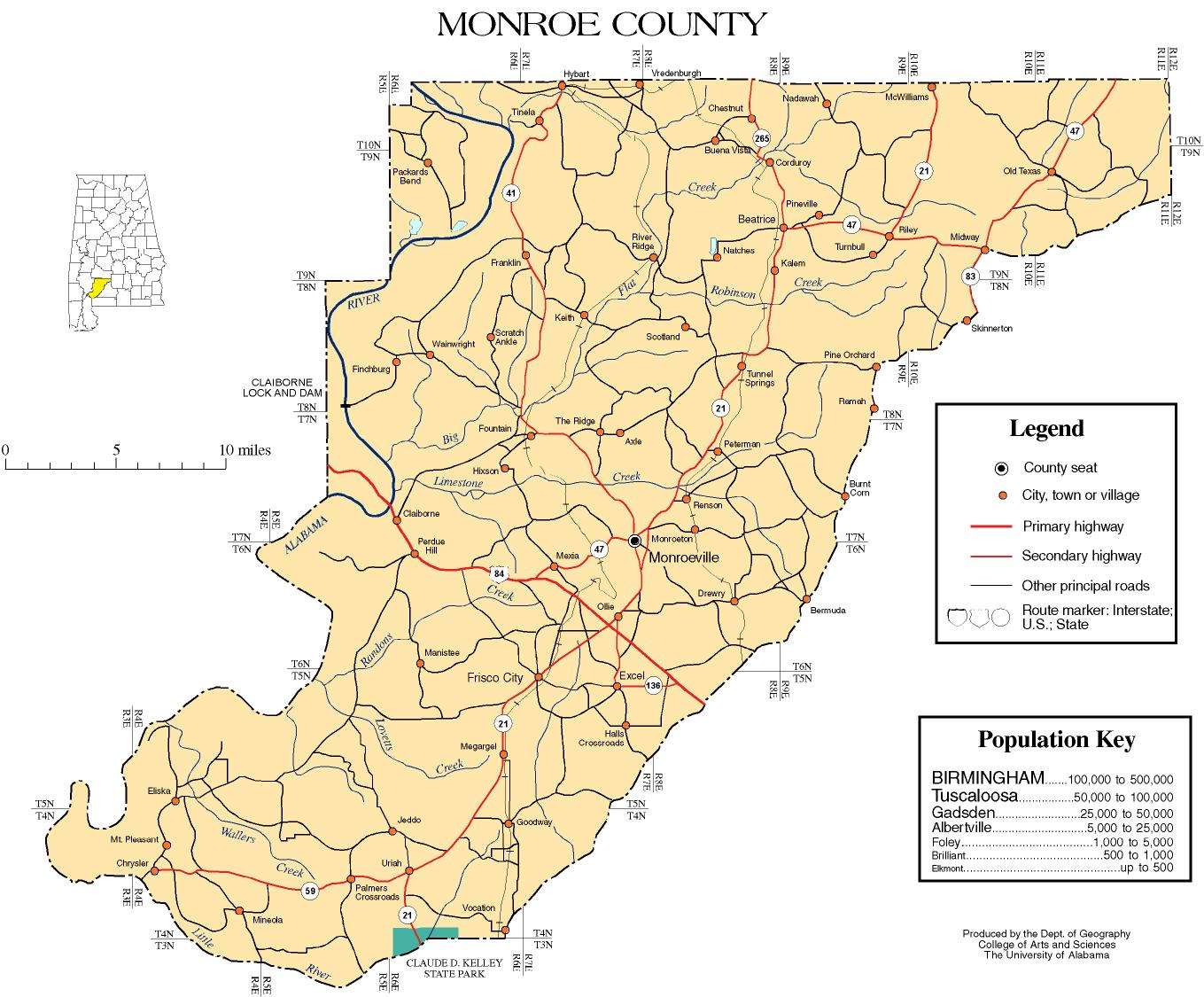 Monroe County Alabama History ADAH - County map of alabama