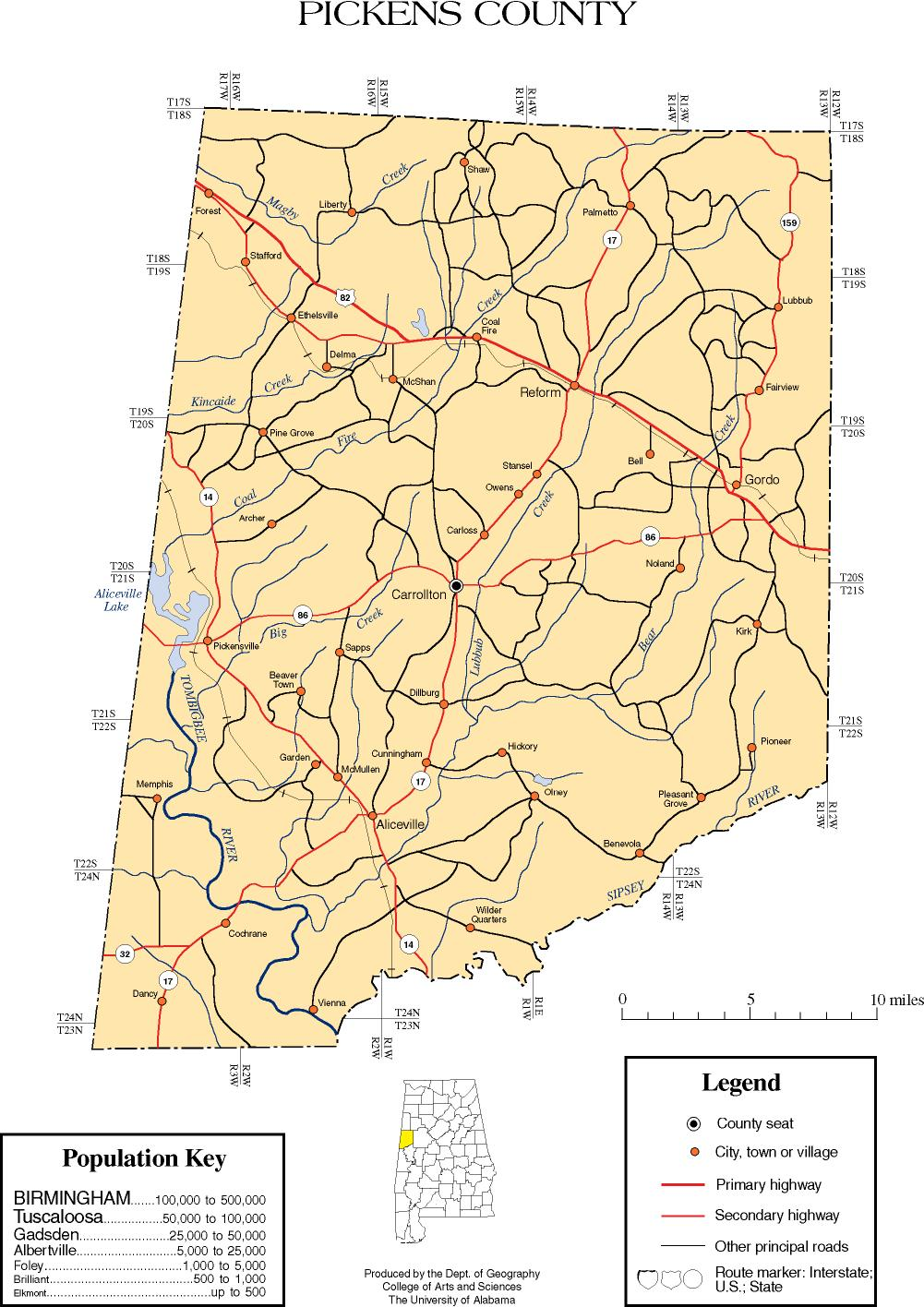 Maps Of Pickens County - County map of alabama