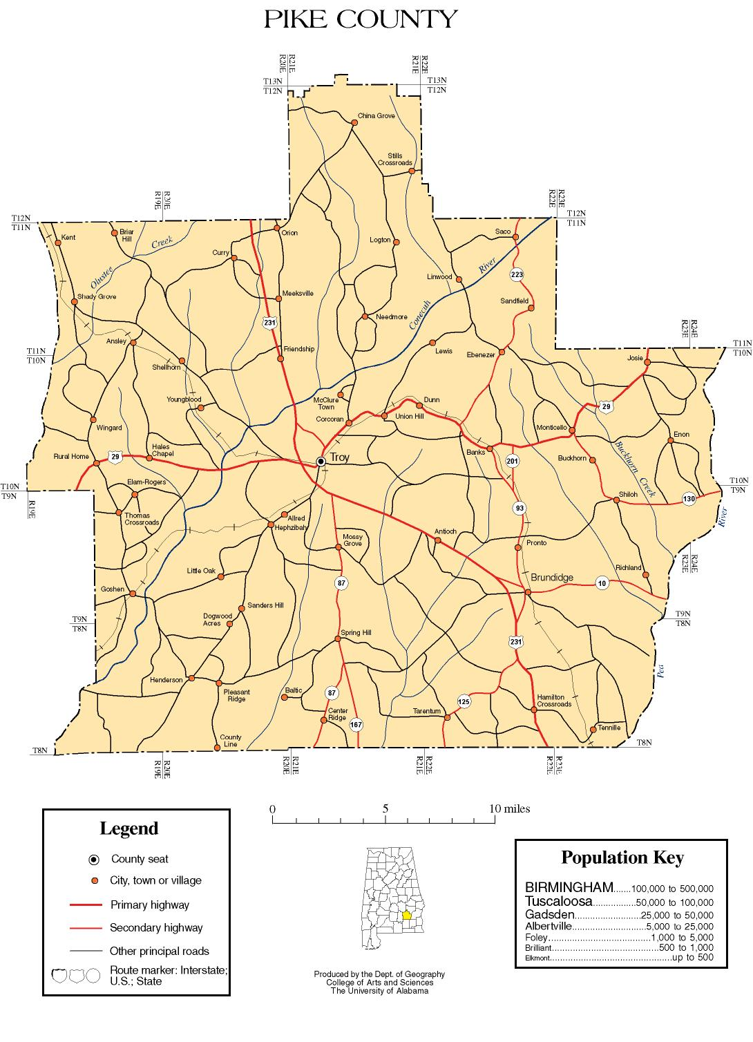 Alabama State Map By County.Pike County Alabama History Adah