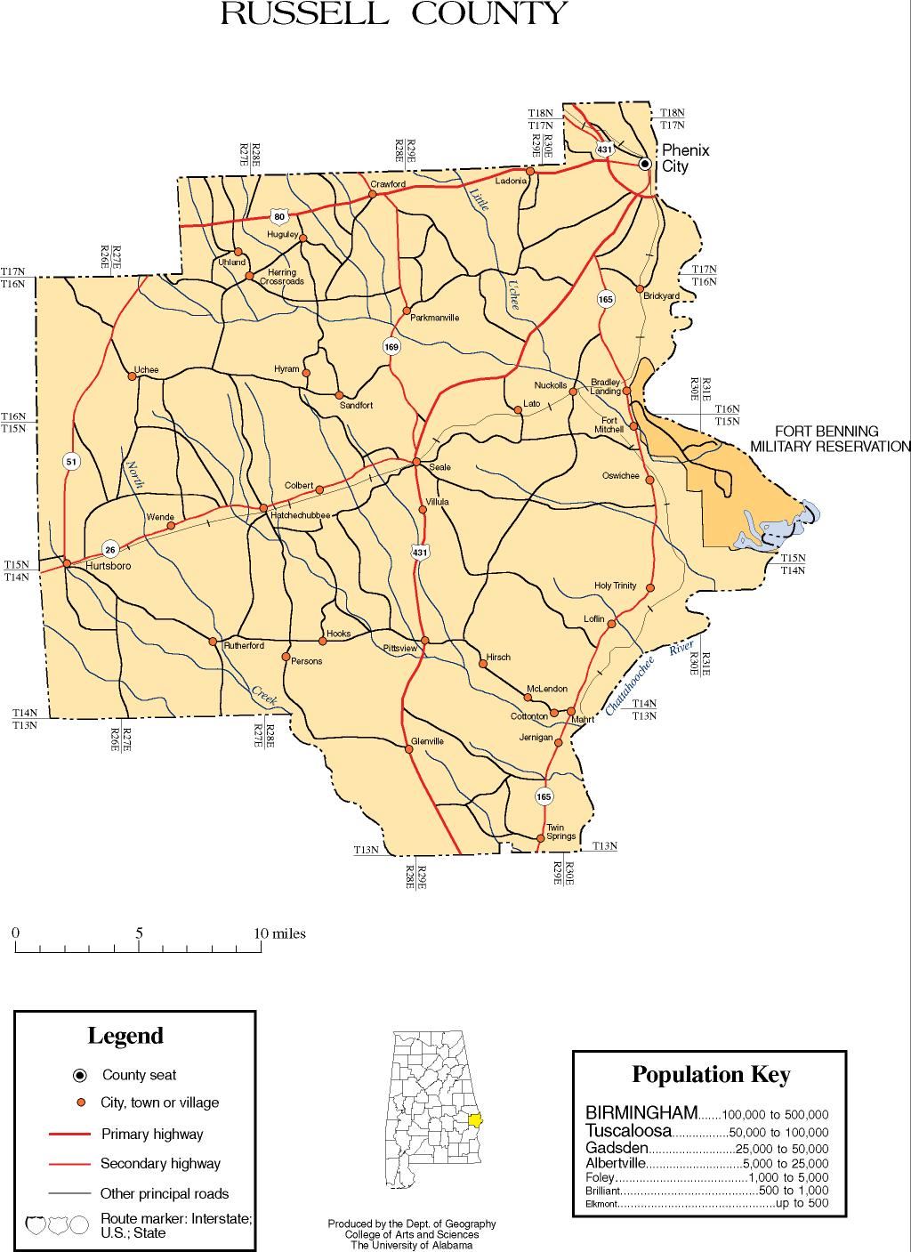 Russell County Alabama History ADAH - Alabama us map