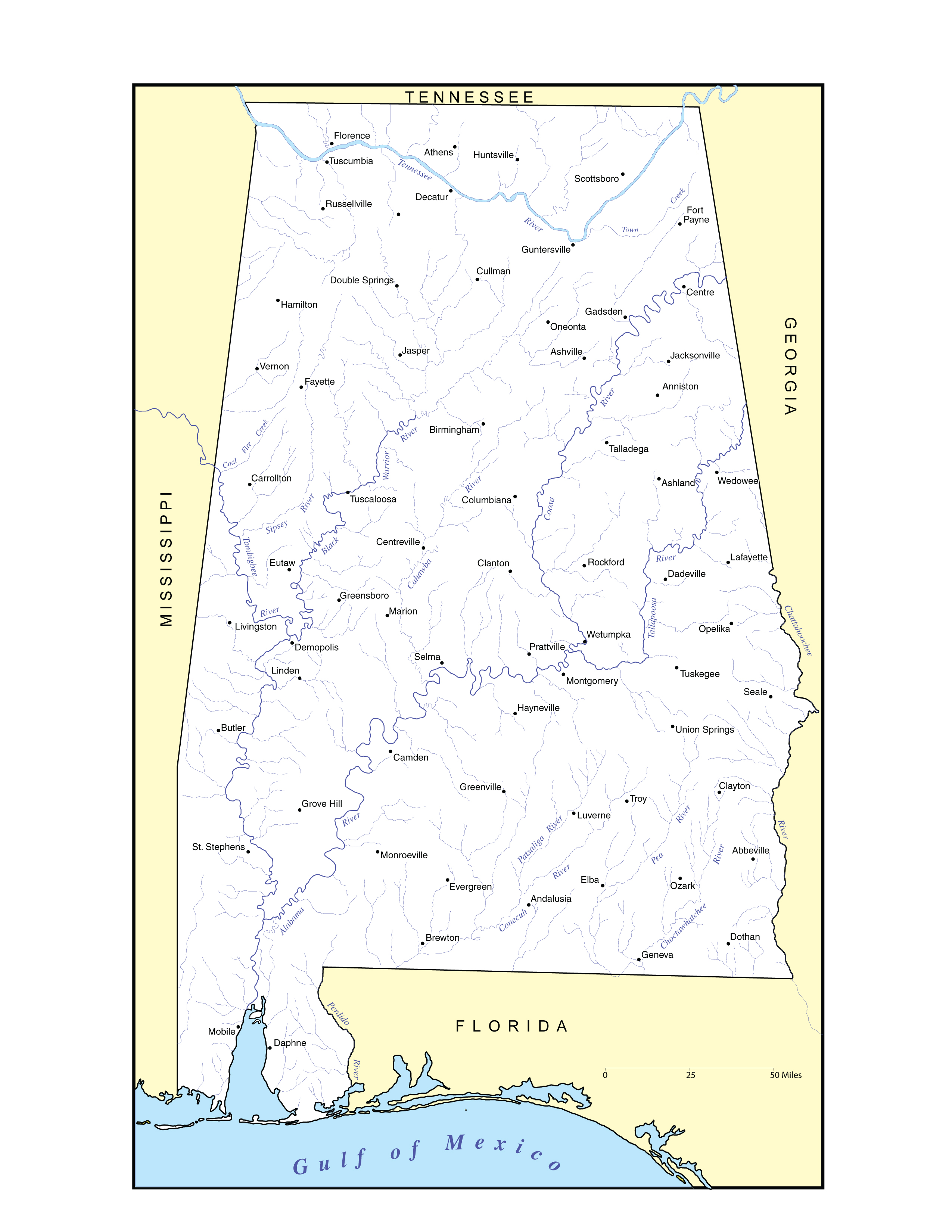Alabama Maps Physical Features