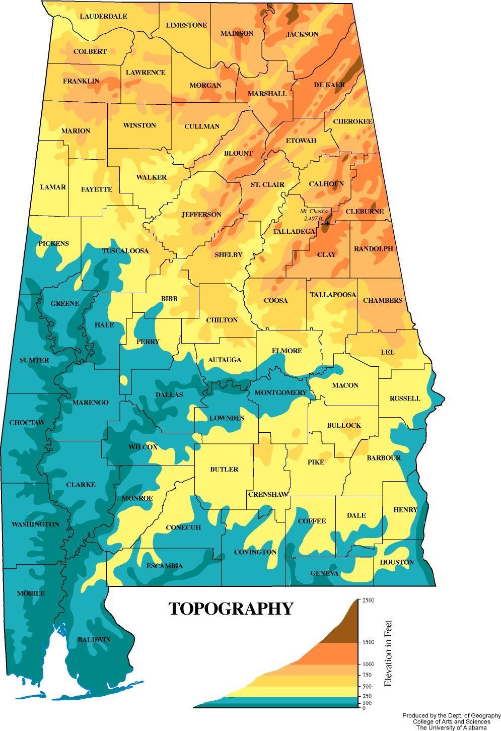 Map Of Georgia Elevation.Alabama Elevation Map Atlasofalabama