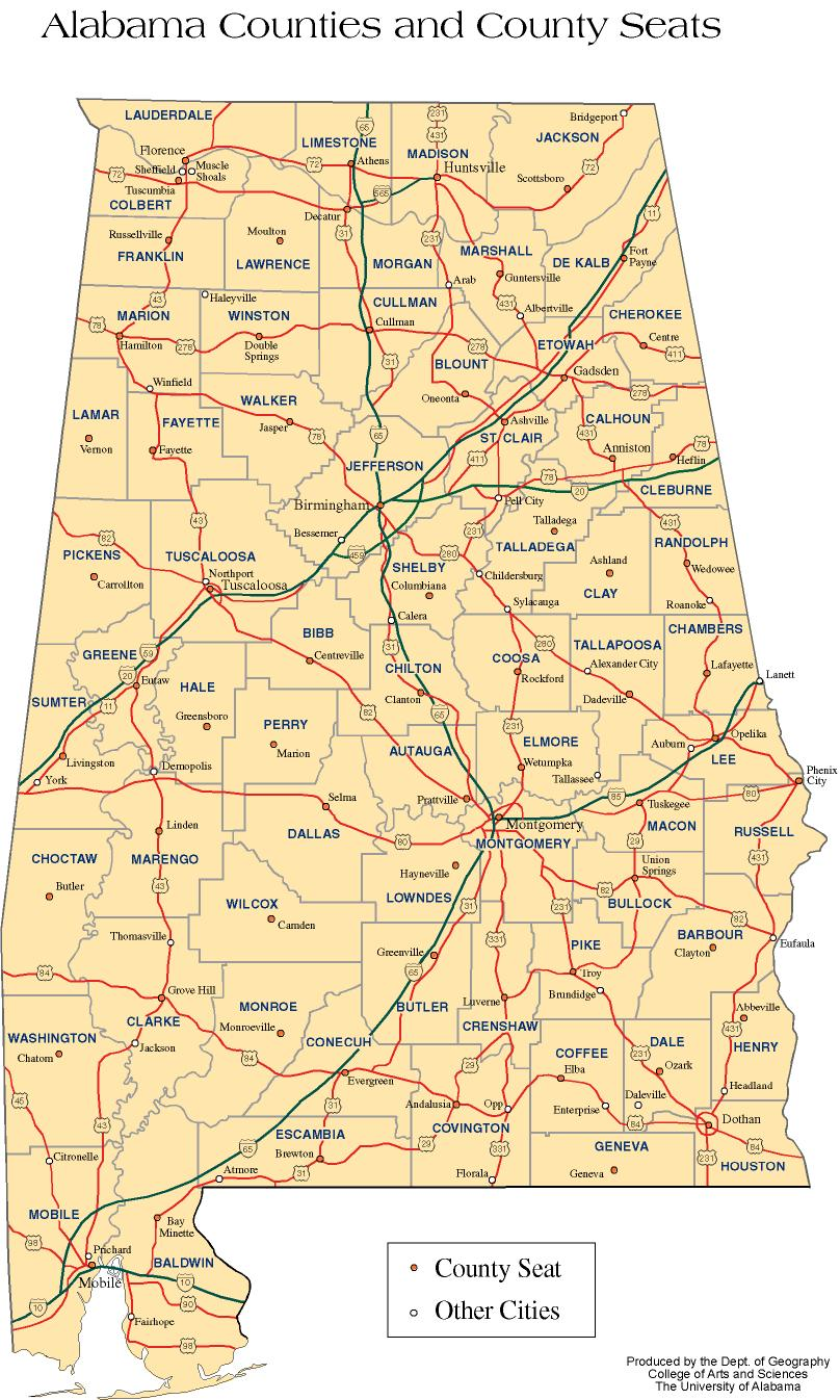 Alabama Outline Maps And Map Links - Road map of alabama