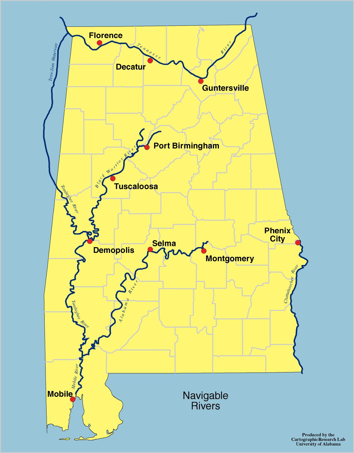 Alabama Outline Maps And Map Links - Us map with cities and rivers