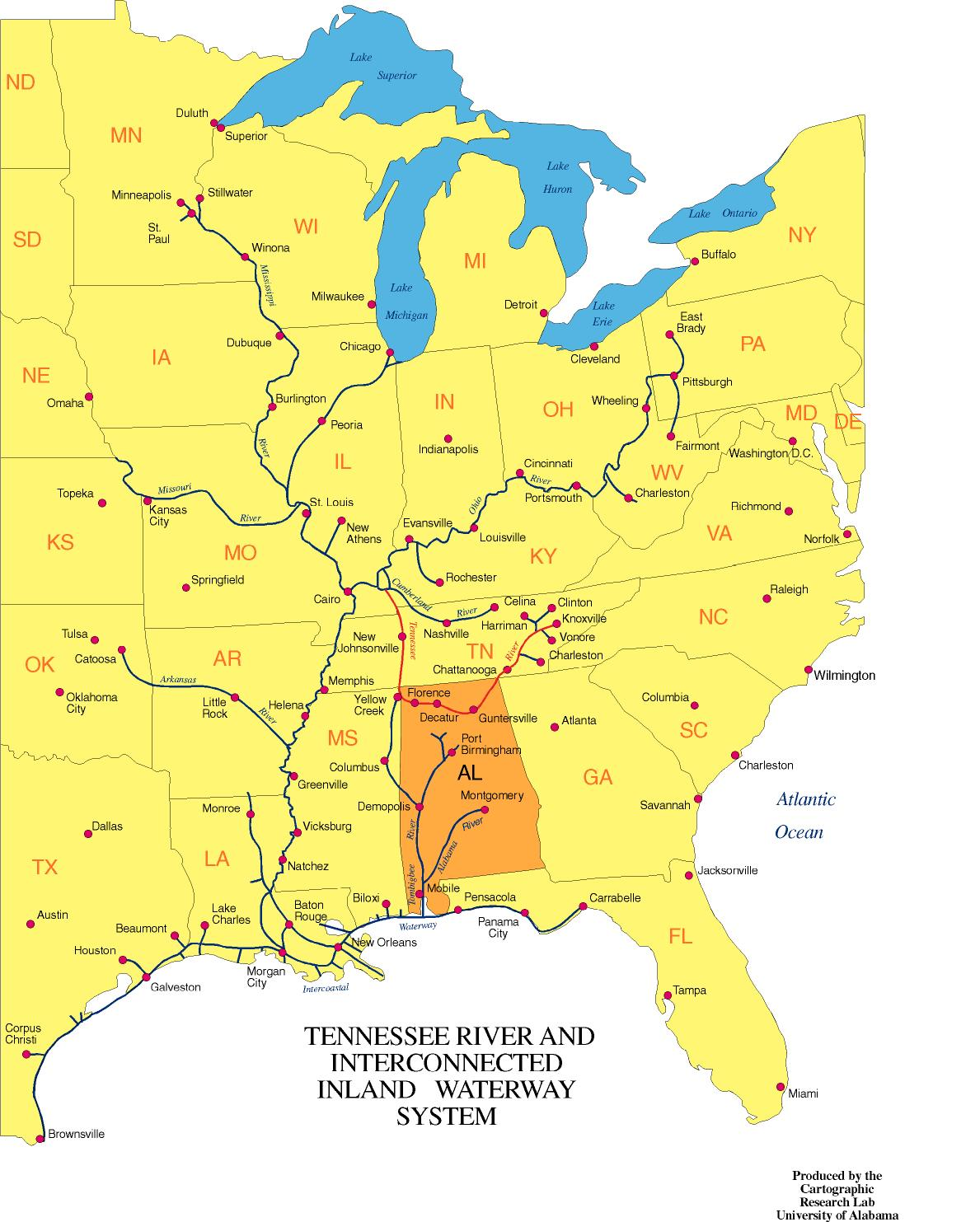 Alabama Maps Transportation - Tennessee waterways map
