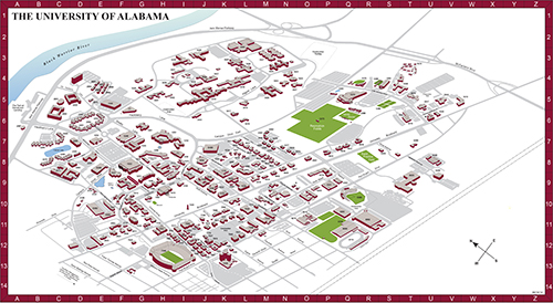 University Of Alabama Campus Map Campus Maps University Of Alabama Campus Map