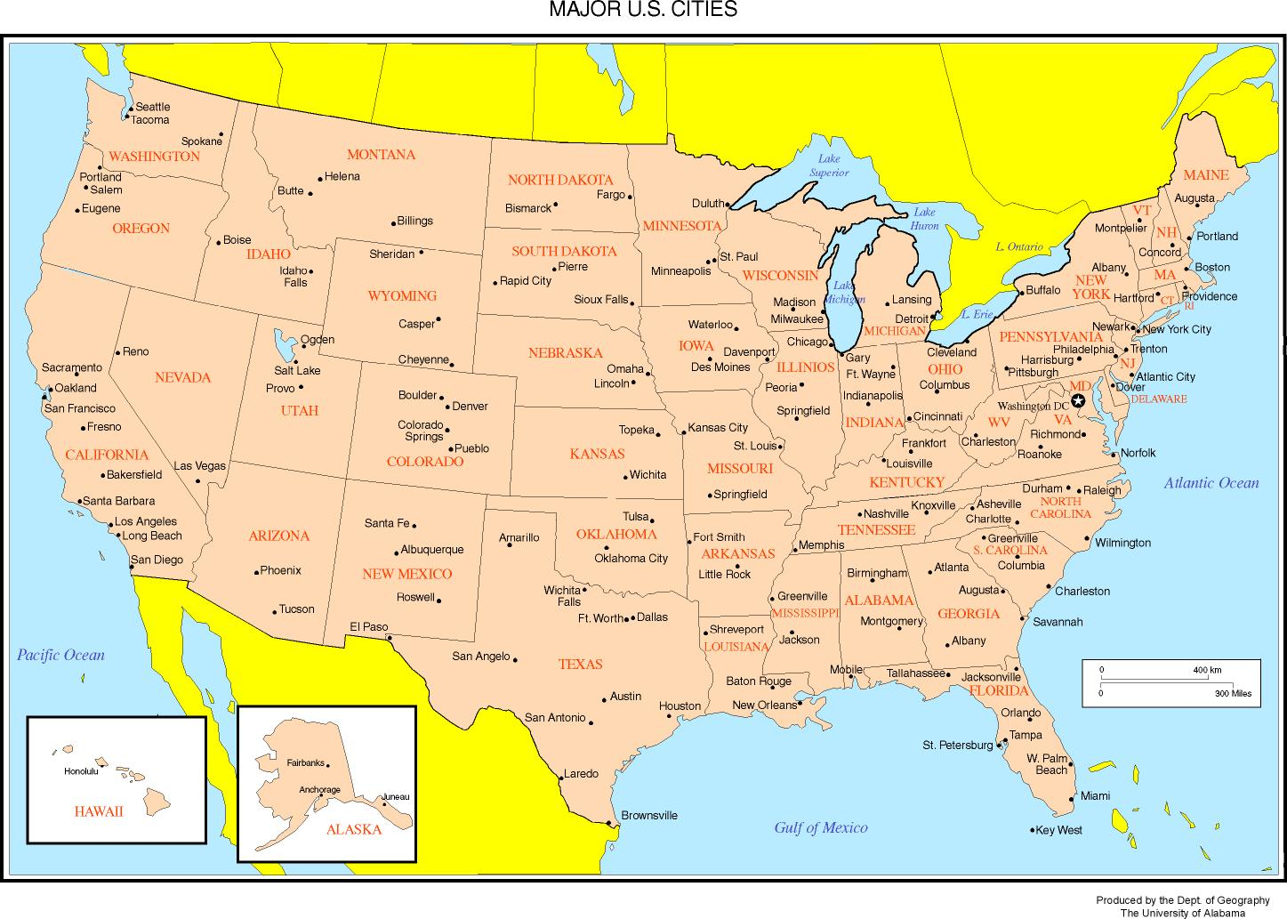Maps Of The United States - Map of usa with states and capitals and major cities
