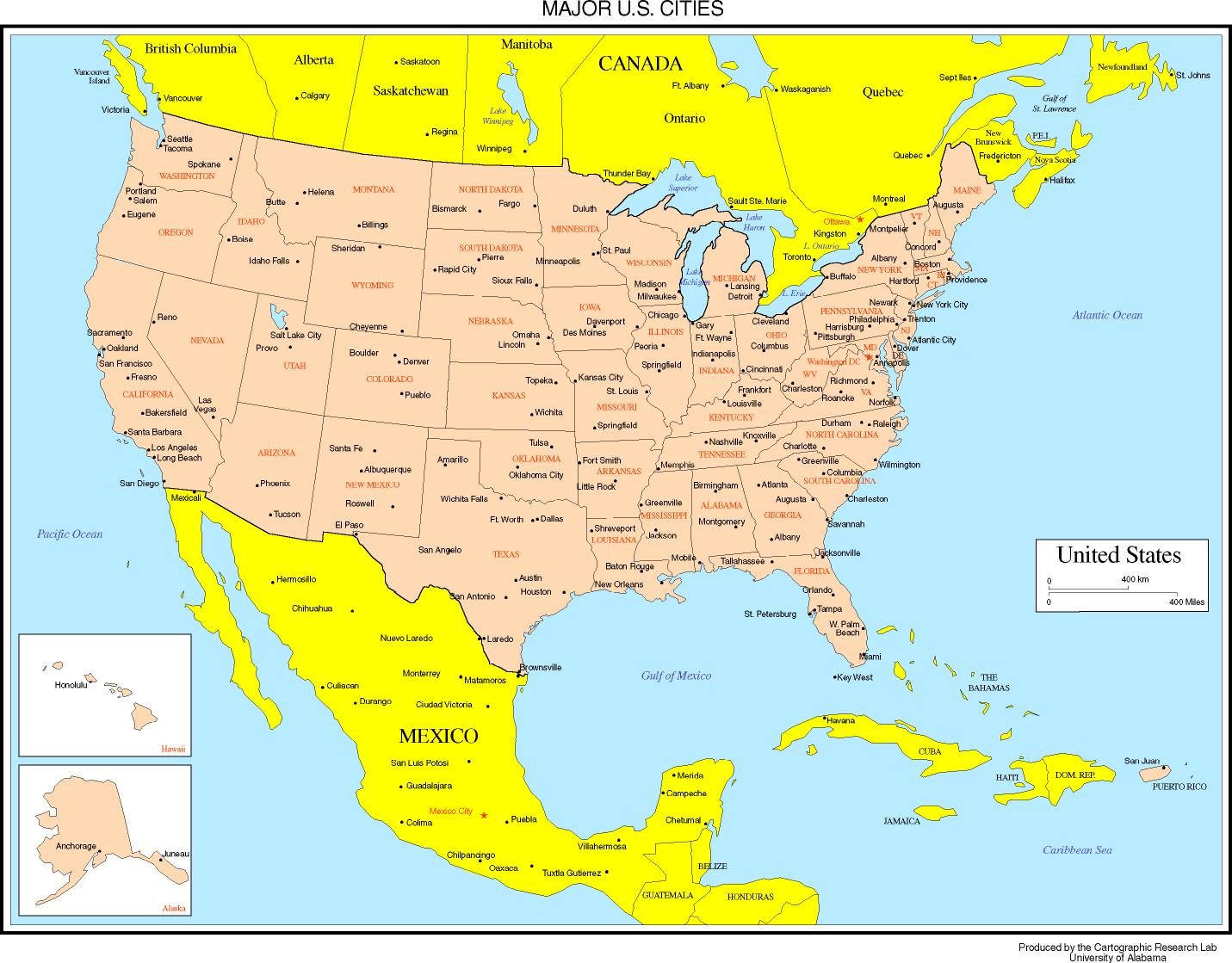 Maps Of The United States With Cities | casami