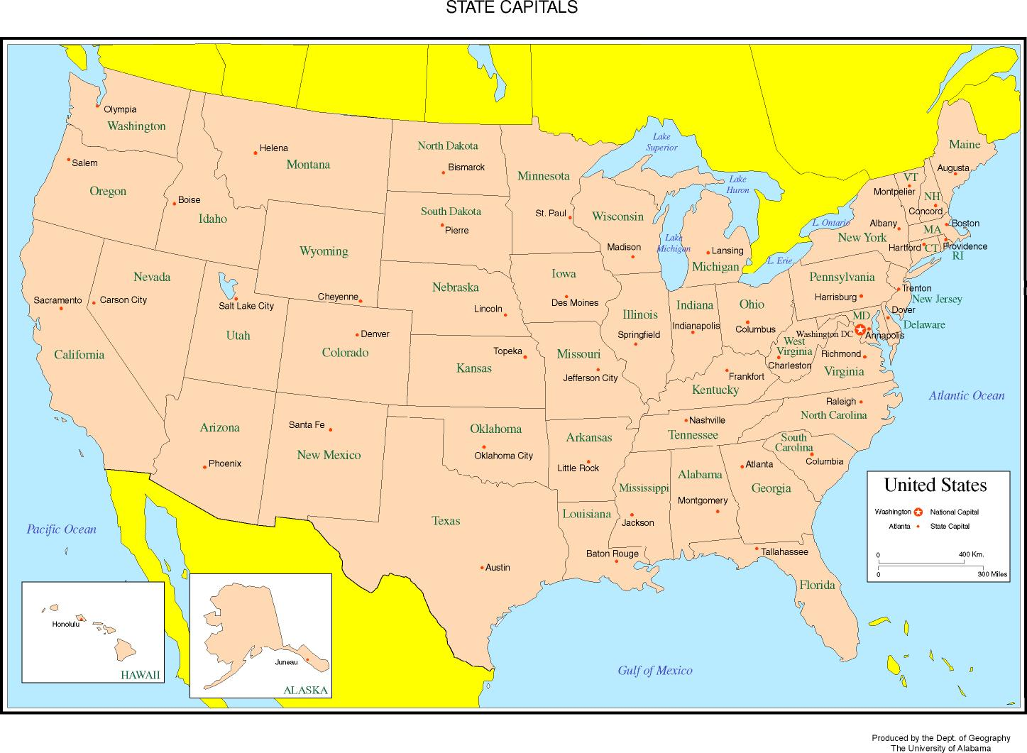 Maps Of The United States - Usa map with cities and capitals