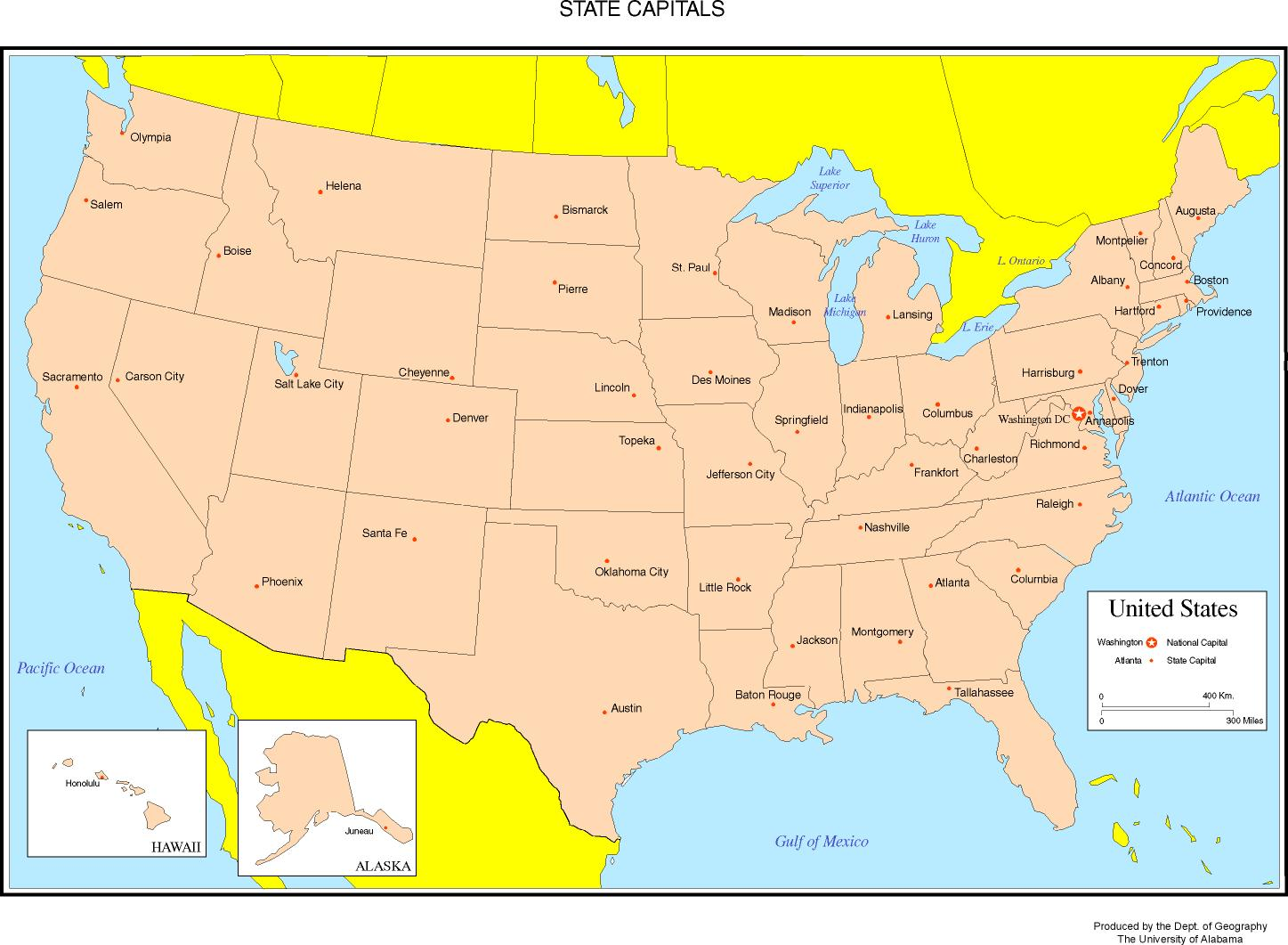 Maps Of The United States - Capitals of us states map