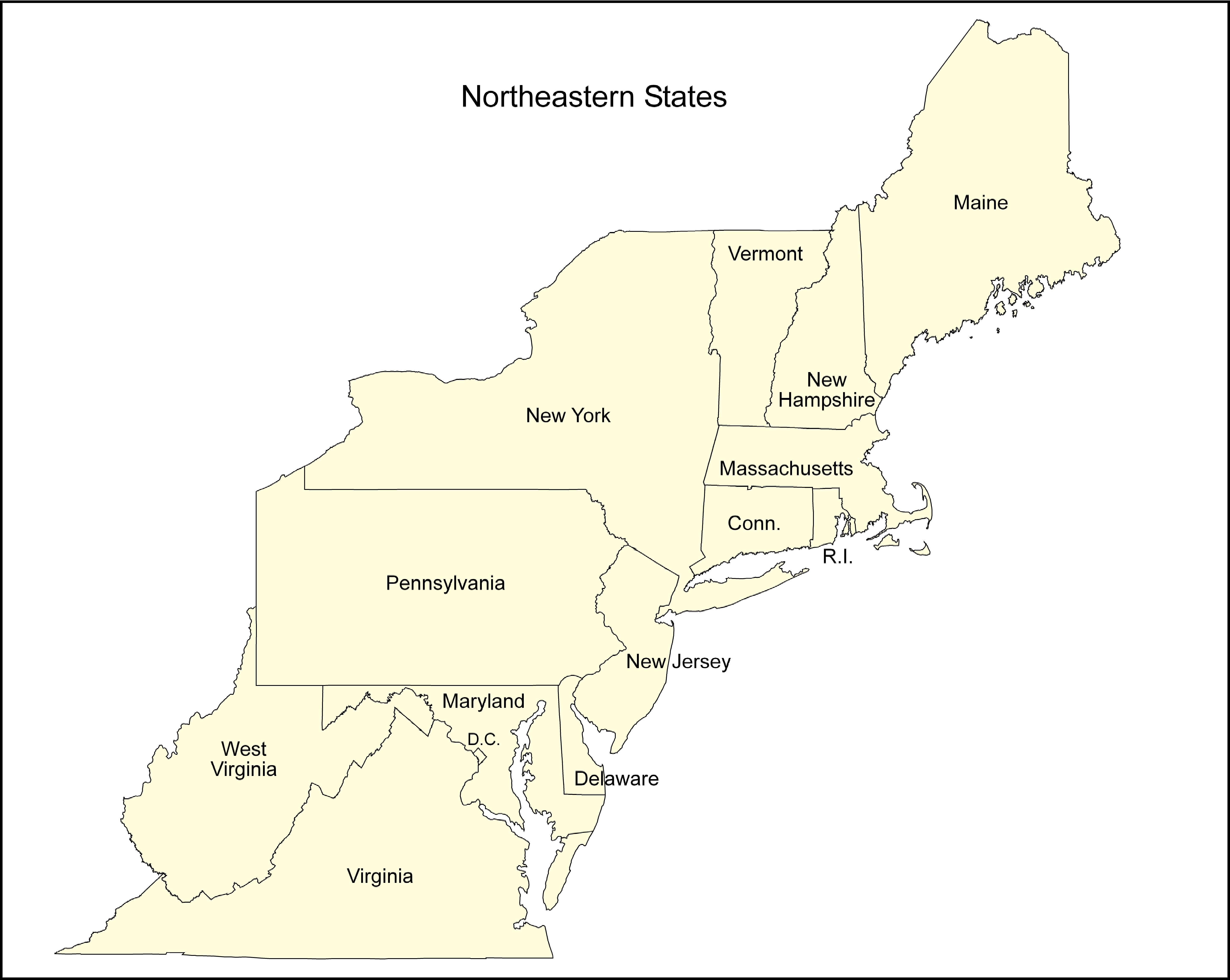 Northeast States Map U.S. Regional
