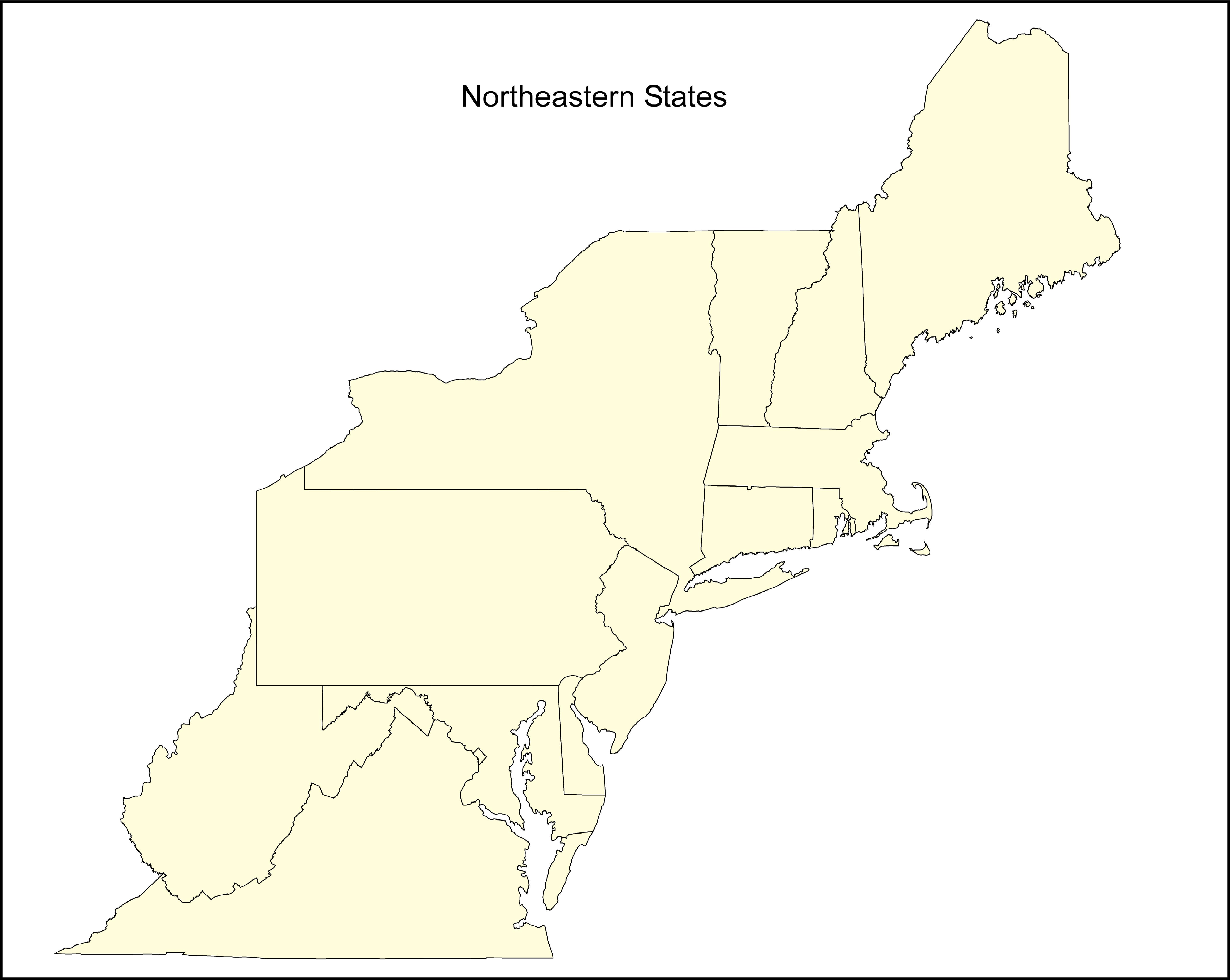 US Regional - Northeastern usa map