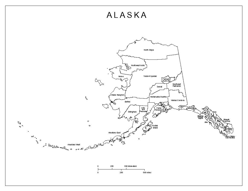 Maps Of Alaska - Blank us map with alaska and hawaii