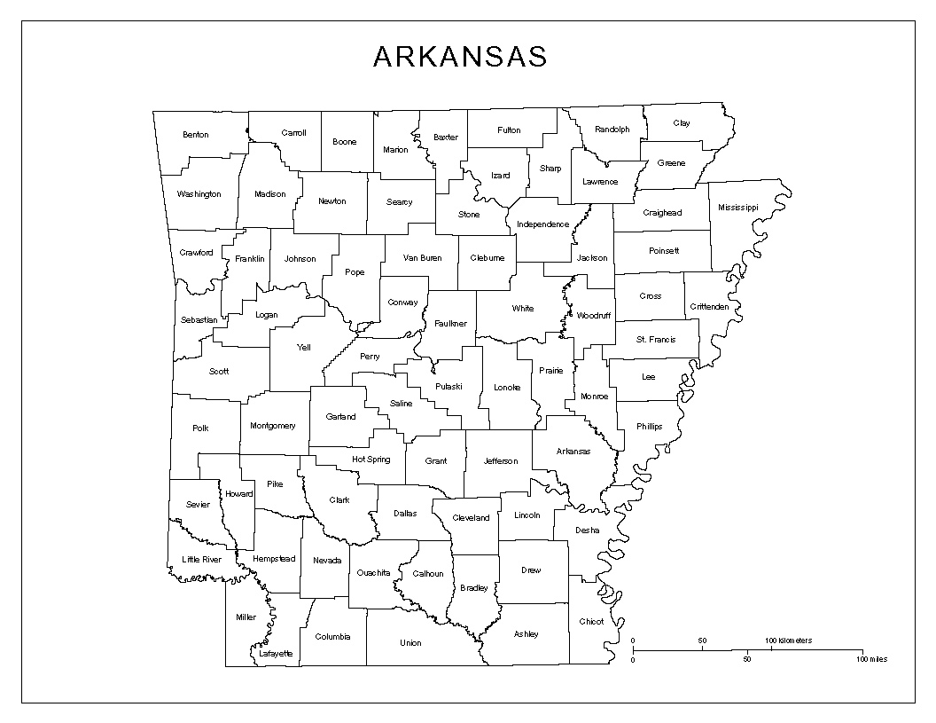 Maps Of Arkansas - Arkansas county map