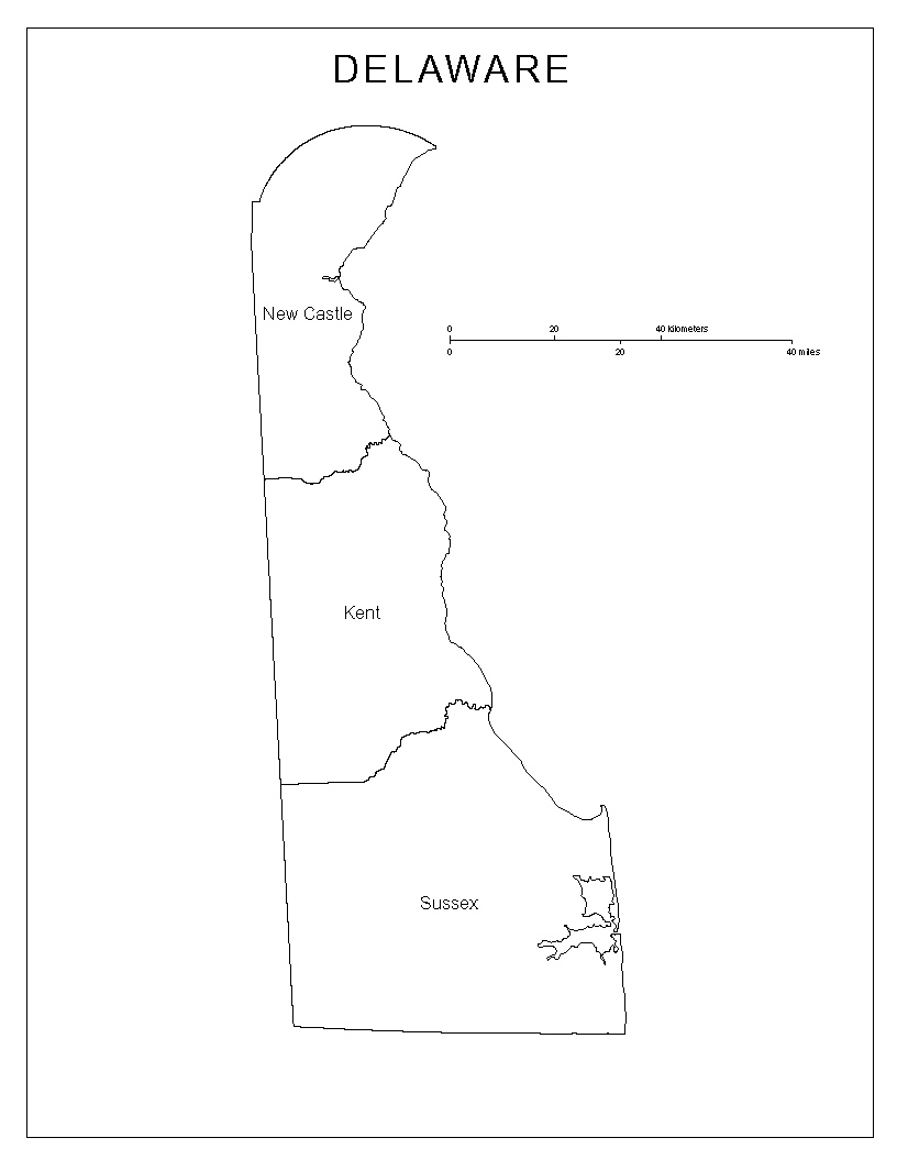 Maps of DelawareBlack And White Delaware Colony Map