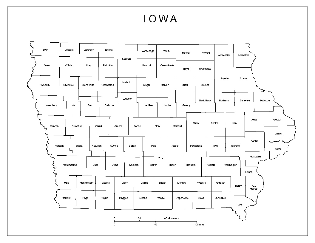 Maps Of Iowa - Map of iowa counties