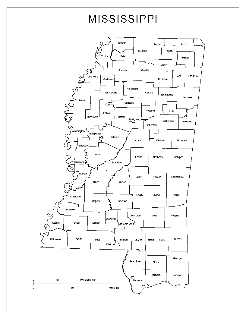 map of mississippi counties with names Maps Of Mississippi map of mississippi counties with names