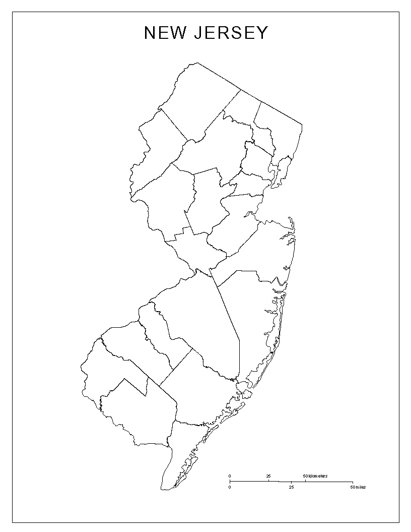 maps of new jersey - new jersey basemap with county lines
