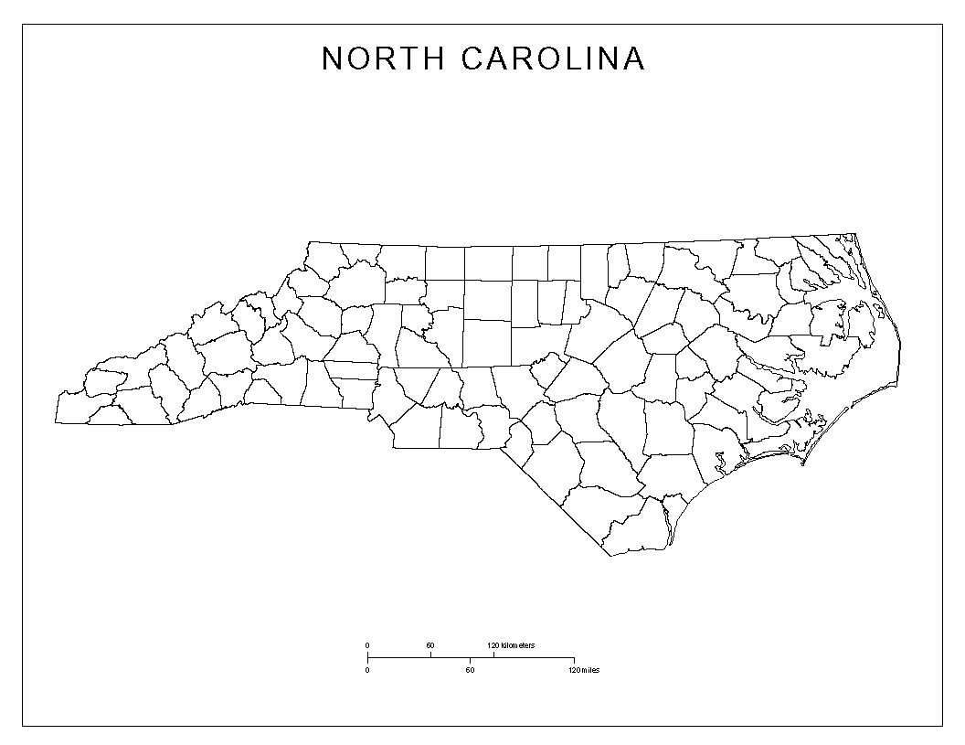 North Carolina State Outline Map North Carolina County Map
