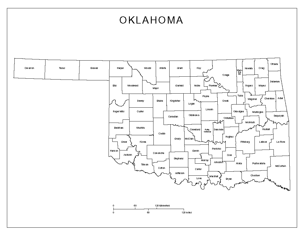 Maps Of Oklahoma - Oklahoma counties map