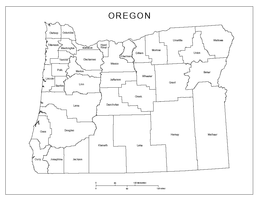 Maps Of Oregon - Oregon county maps