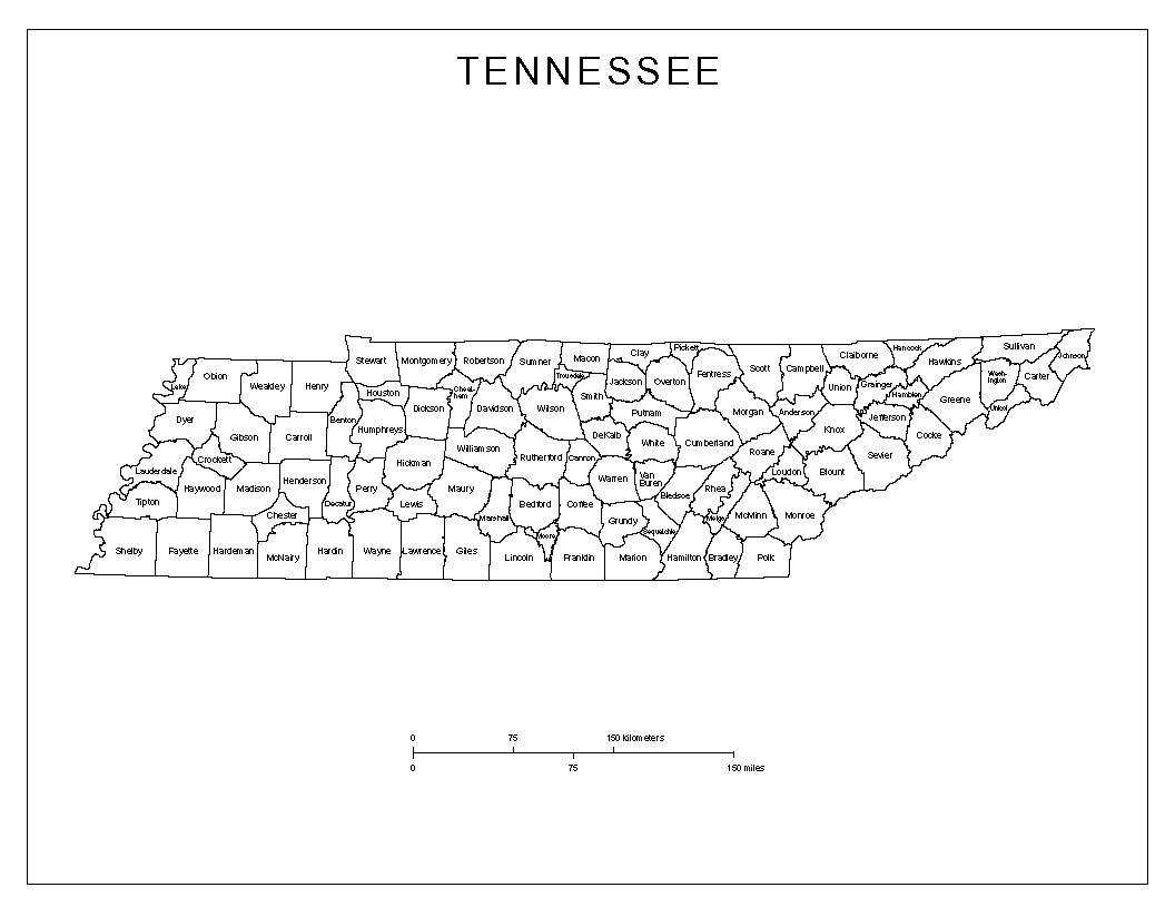 Nerdy image inside printable map of tennessee counties
