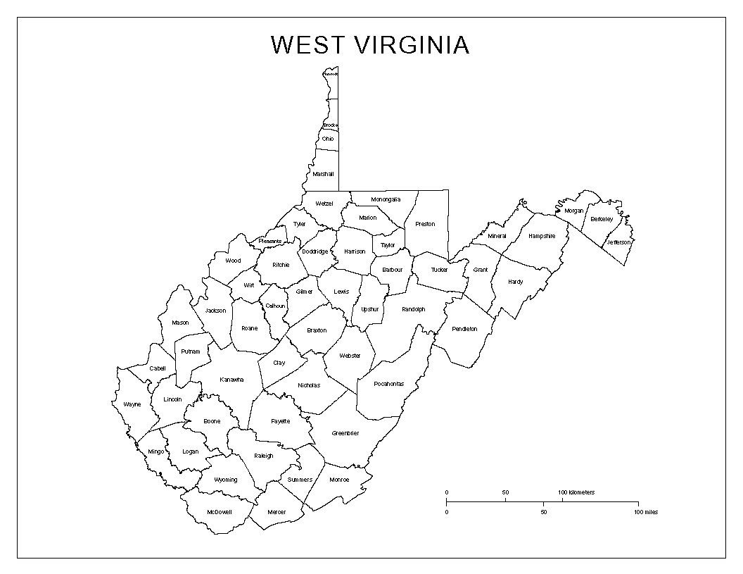 Maps Of West Virginia - Counties of va map