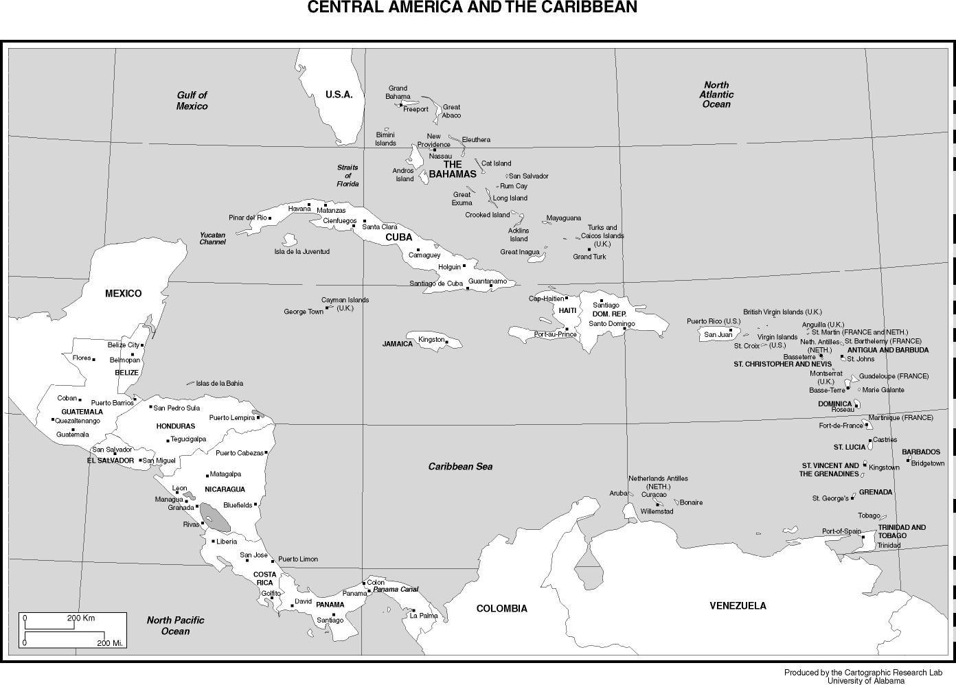 Central American And Caribbean Capitals And Major Cities. Black U0026 White  Version: