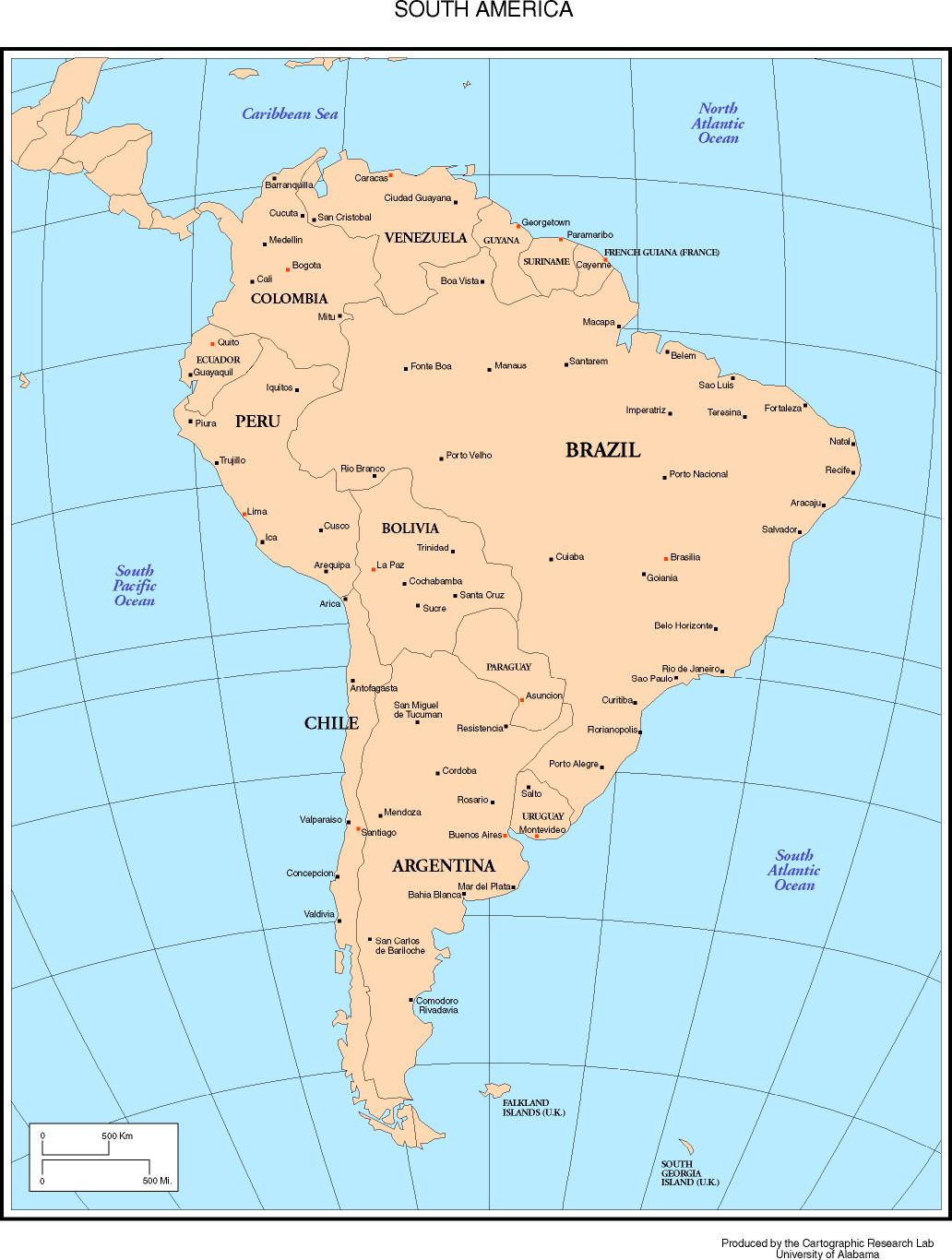 Capitals And Countries Of South America Map