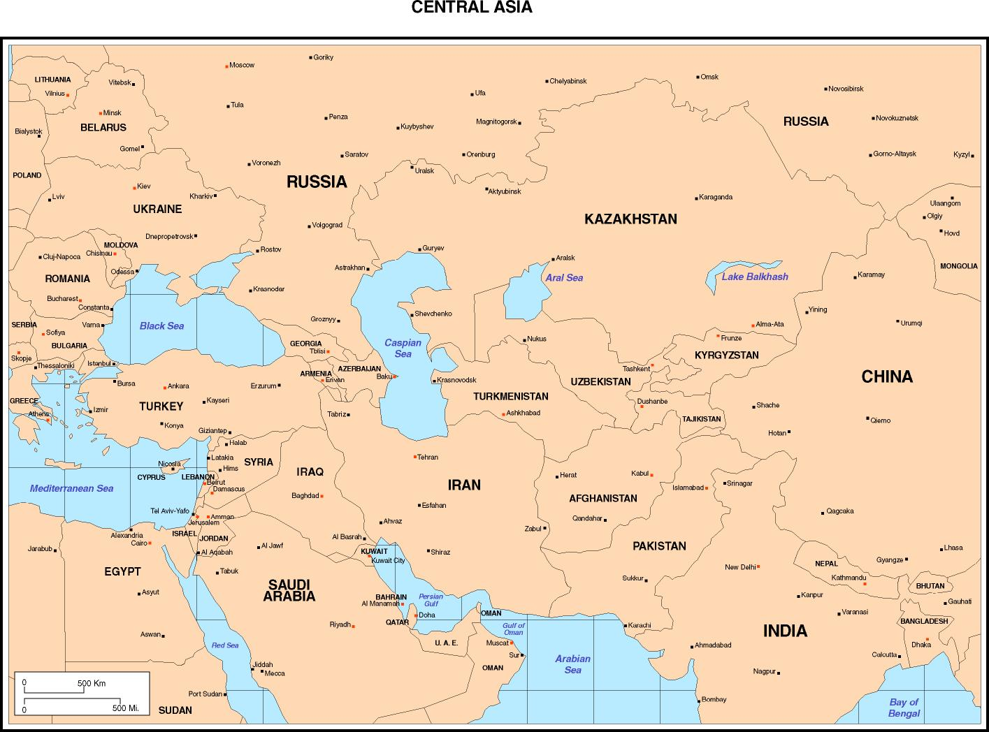 Asia Map With Country Names And Capitals Pdf - World map with countries names and capitals pdf