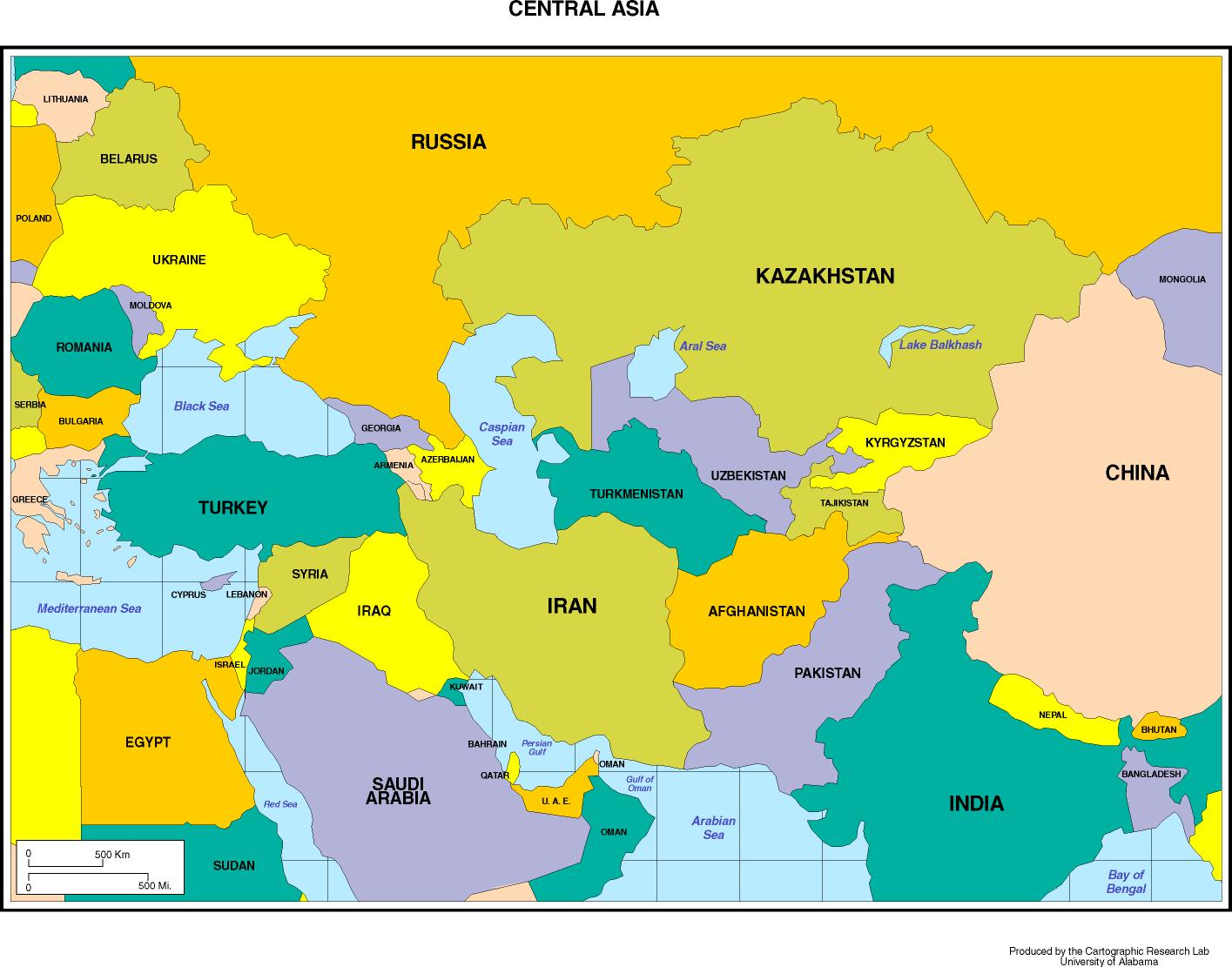 Maps Of Asia - Central asia political map
