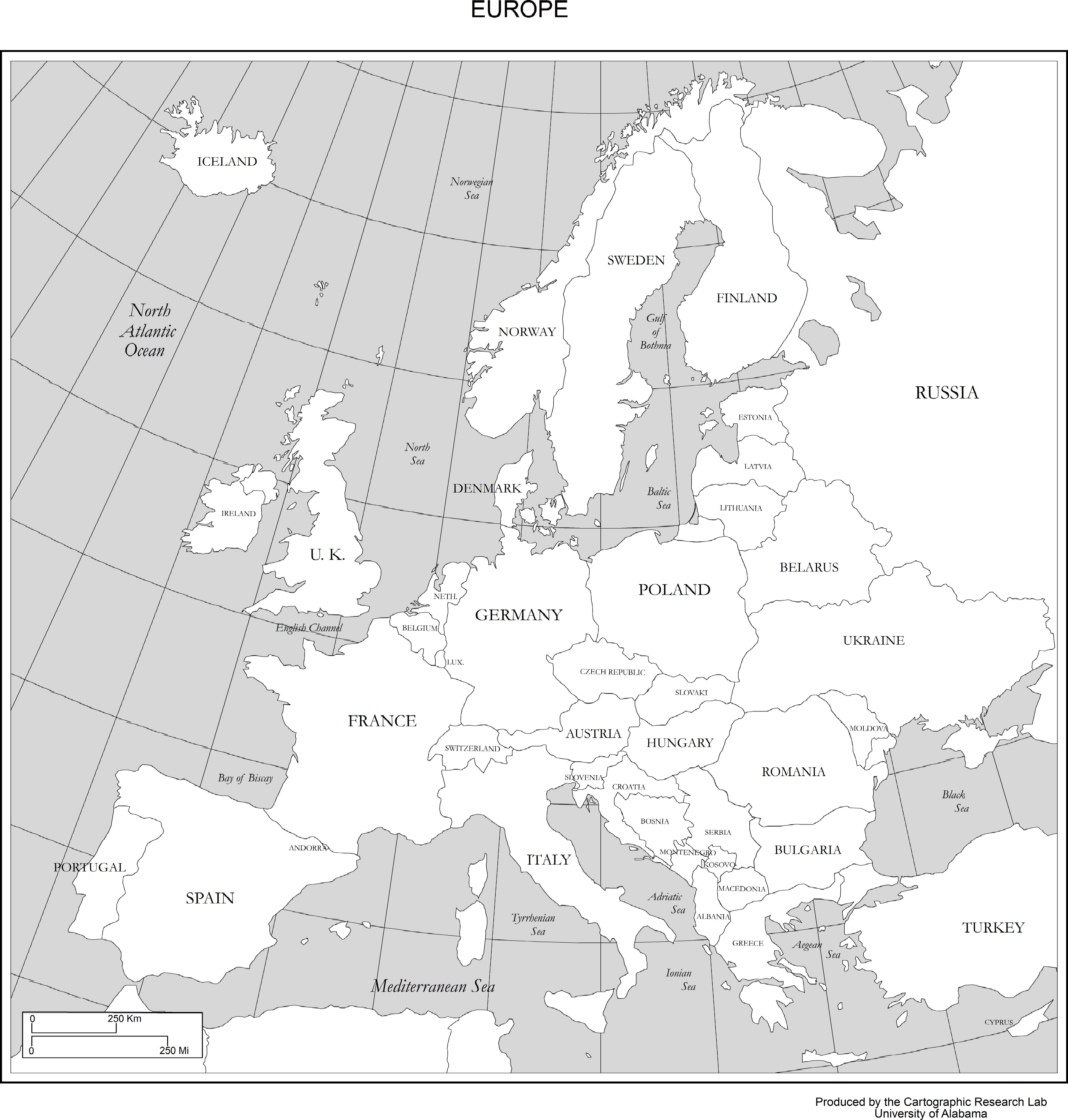 Printable Map Of Europe Maps of Europe
