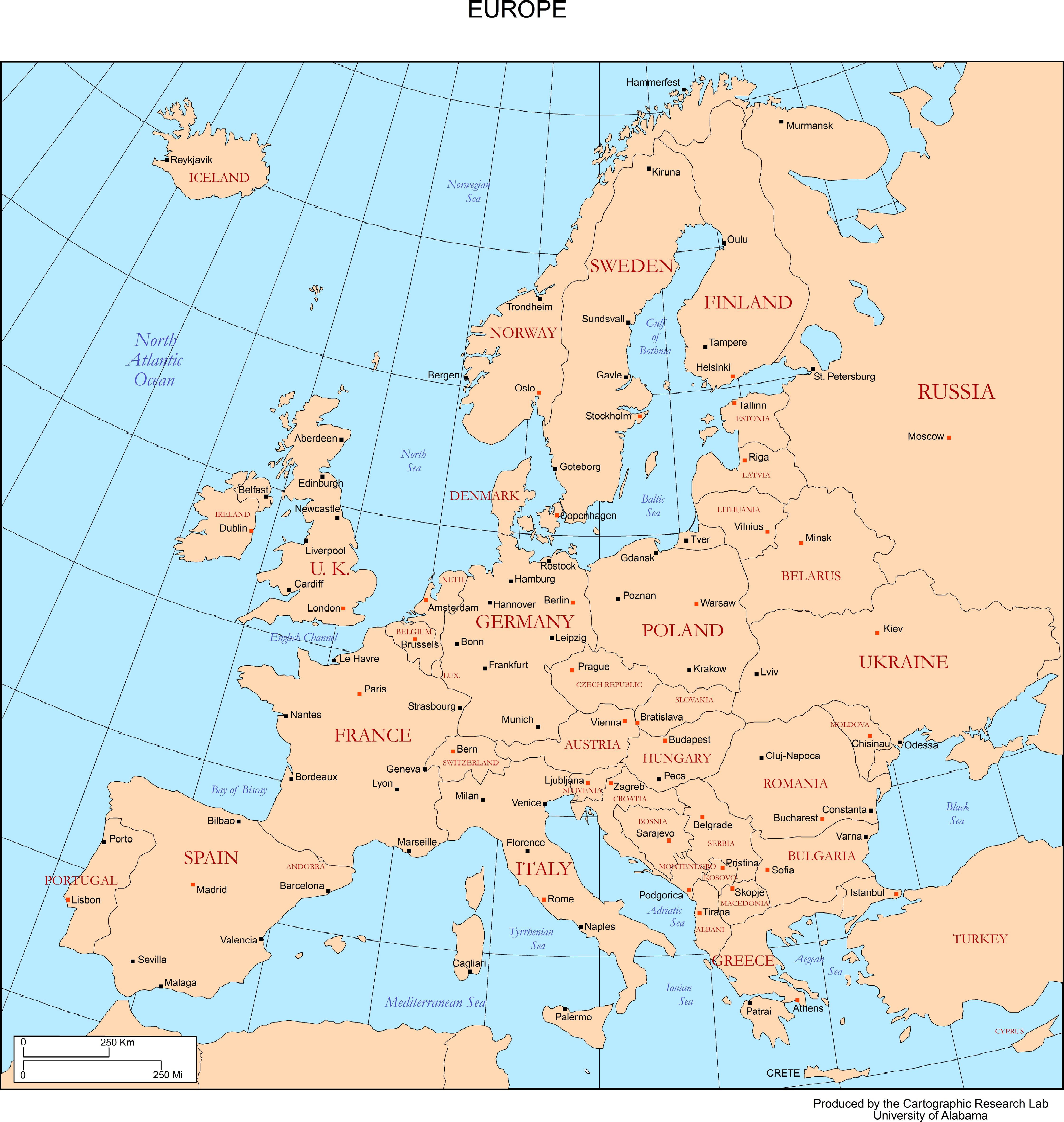 Europe Map With Capitals on Europe Map Major Cities
