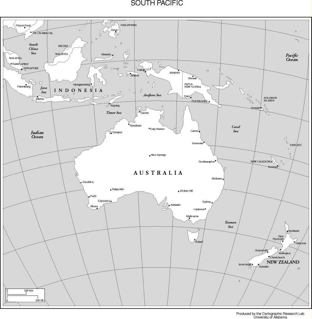 south pacific. maps of the south pacific